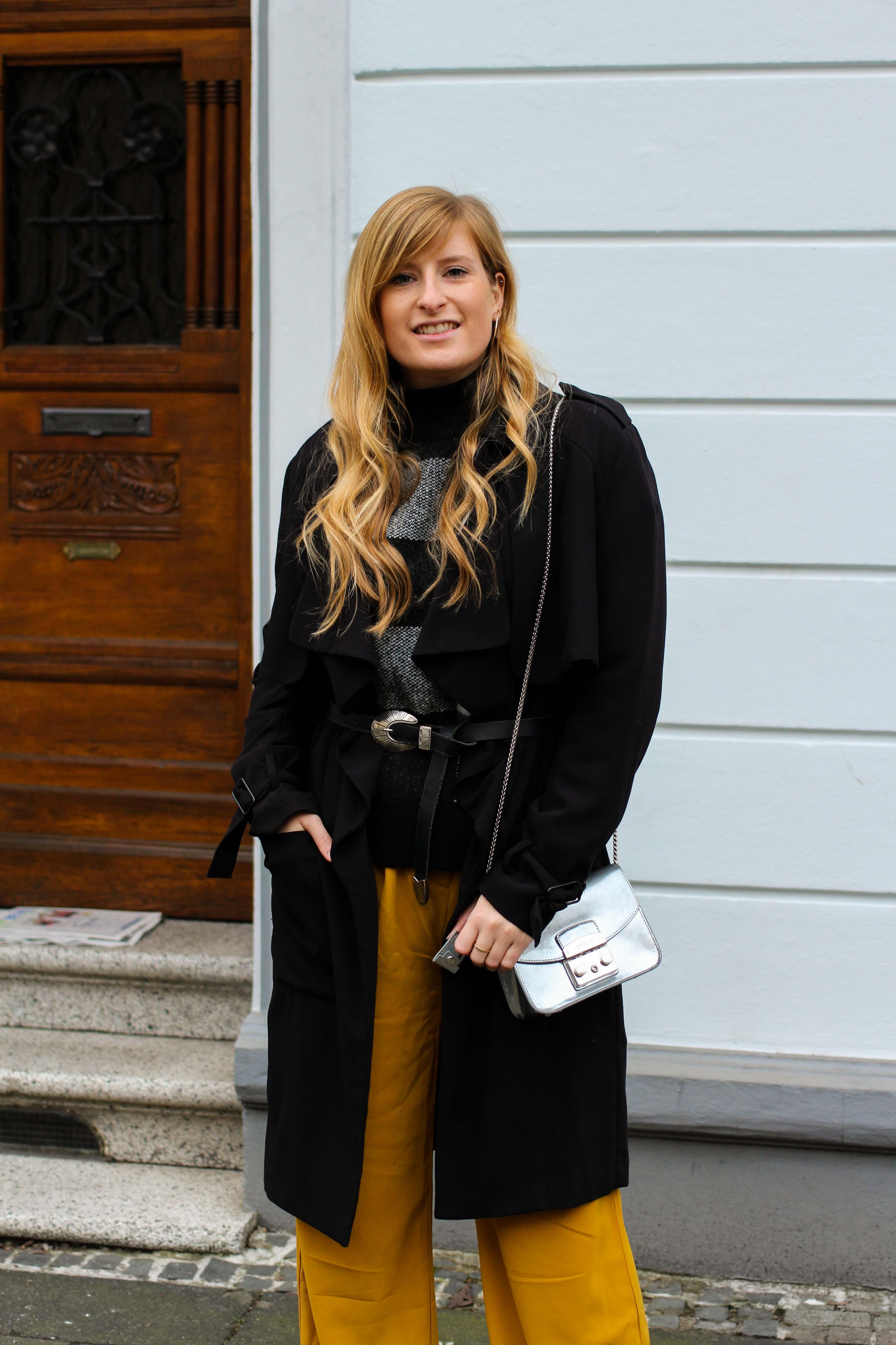 Karo Pullover Wide Leg Pants Gelb Weite Hosen kombinieren Modeblog Outfit Herbst Winter Bonn Blog 2
