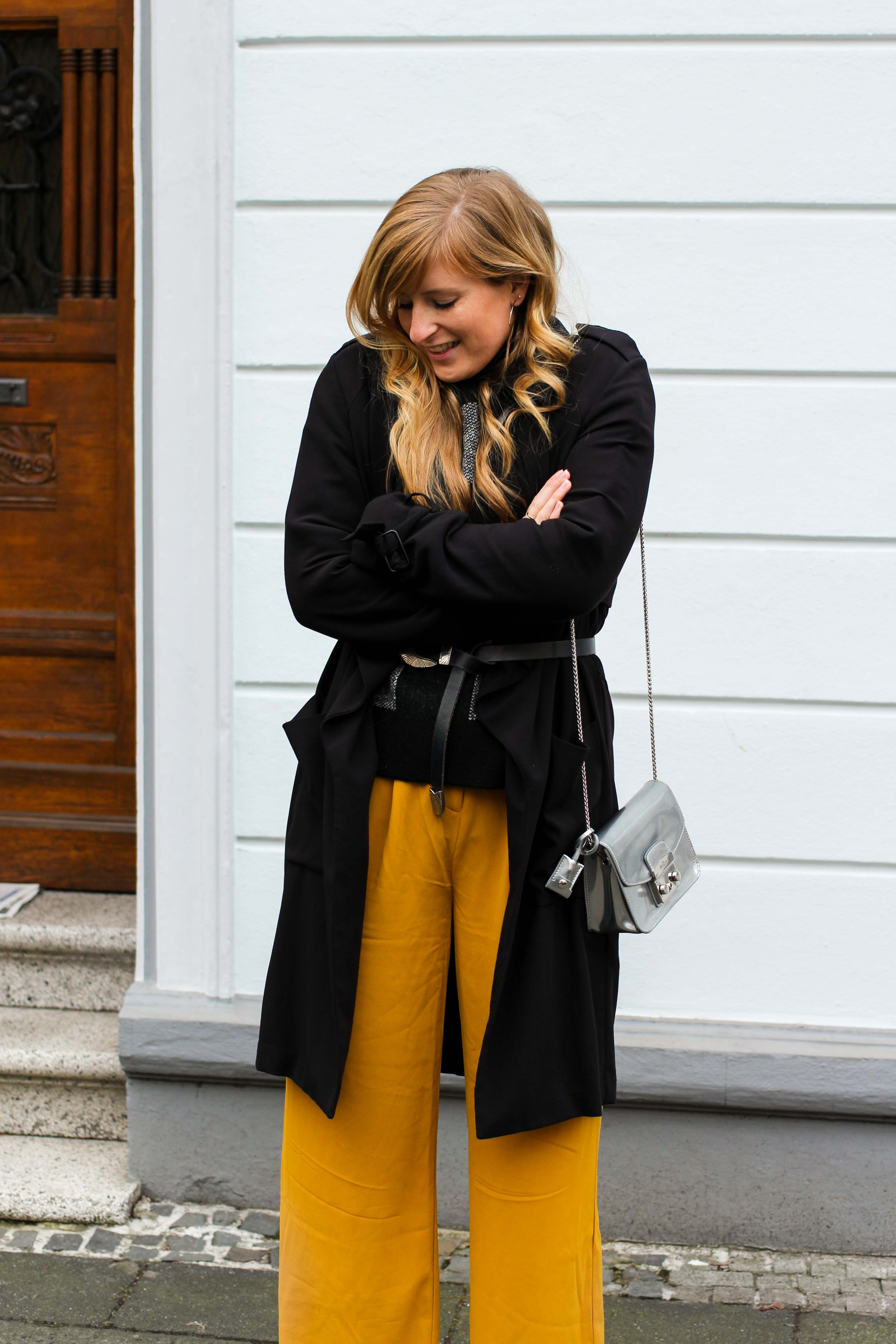 Karo Pullover Wide Leg Pants Gelb Weite Hosen kombinieren Modeblog Outfit Herbst Winter Bonn Blog 4