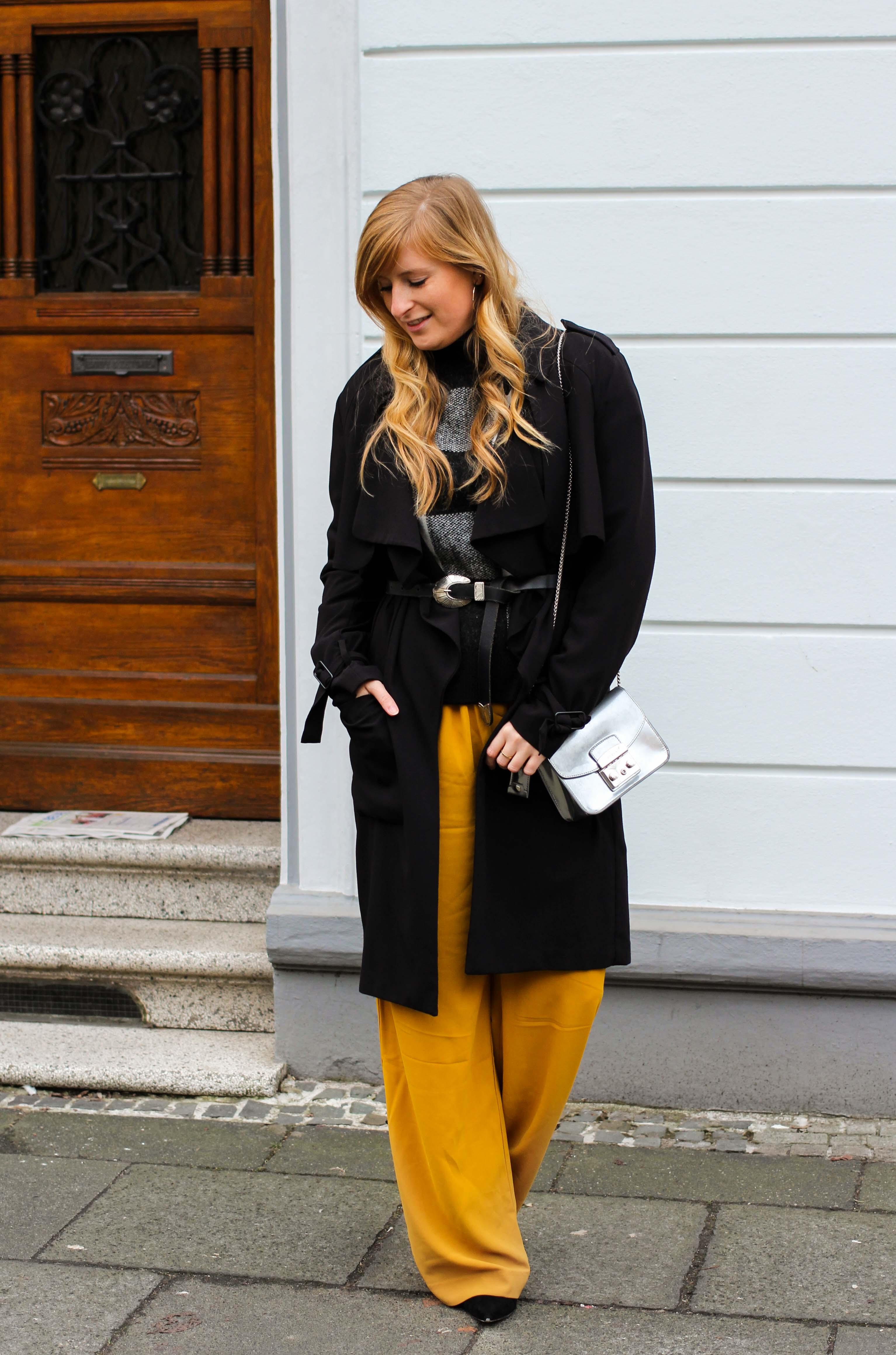 Karo Pullover Wide Leg Pants Gelb Weite Hosen kombinieren Modeblog Outfit Herbst Winter Bonn Blog 5