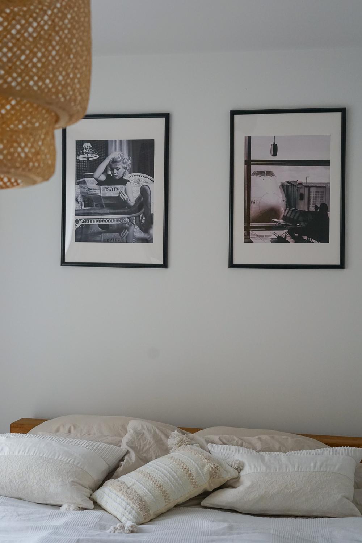 Schlafzimmer Ideen Inspiration Schlafzimmer gestalten skandinavisch Schwarz Weiß Bilder Posterlounge Marylin Monroe