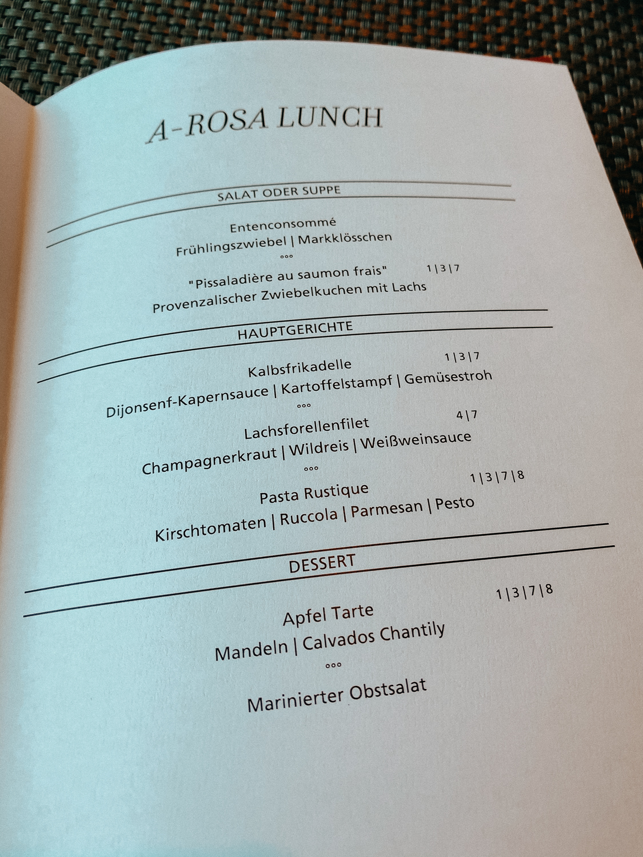 AROSA Flusskreuzfahrt Frankreich A-rosa Bella Restaurant Lunch Menü Auswahl 3 Gänge Menü Rhône Saône
