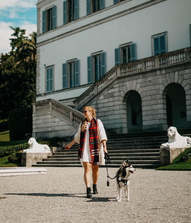 Herbstlook Cardigan Burberry Schal Karo Pomsky Modeblog Bellagio Herbst Outfit 1
