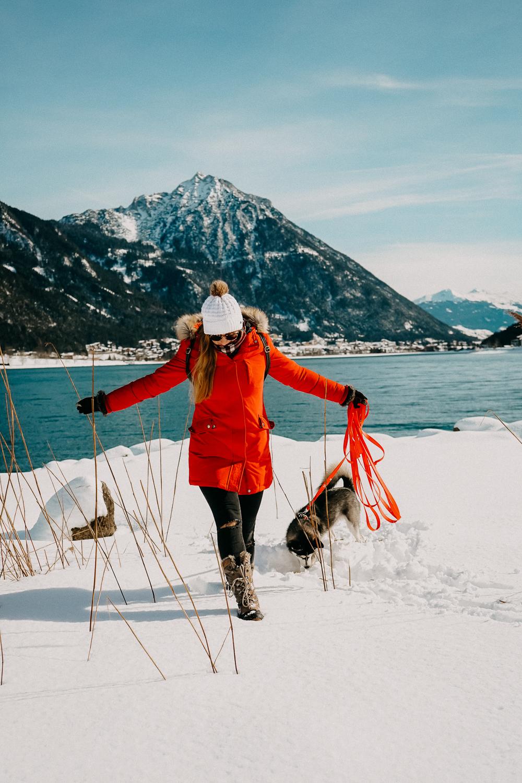 Reisen mit Hund Achensee wandern Österreich Pertisau Rundreise Route Hundeurlaub Urlaub Hund Reiseblog Pomsky Winterwonderland
